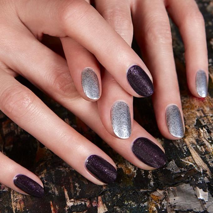 unghii negre cu argintiu